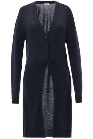 Jil Sander Women Cardigans - V-neck Wool Longline Cardigan - Womens - Navy
