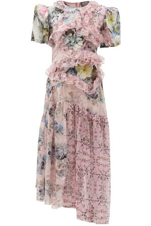 THORNTON BREGAZZI Anzu Panelled Lace-trim Floral-print Dress - Womens - Multi