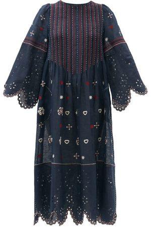 VITA KIN Women Midi Dresses - Jacqueline Broderie-anglaise Linen Midi Dress - Womens - Navy Multi