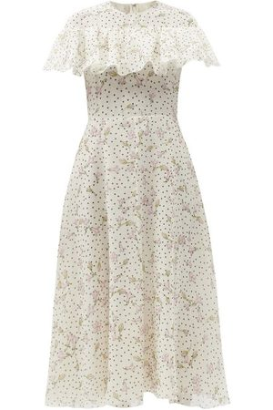 Giambattista Valli Women Printed Dresses - Ruffled Floral-print Silk-georgette Dress - Womens - Multi