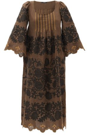 VITA KIN Mathilde Hand-embroidered Linen Dress - Womens - Multi