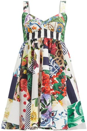Dolce & Gabbana Women Party Dresses - Patchwork-print Cotton-blend Mini Dress - Womens - Multi