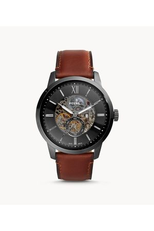 Fossil Men's Townsman 48Mm Automatic Amber Leather Watch