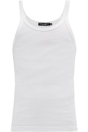 Dolce & Gabbana Logo-patch Ribbed Cotton-jersey Tank Top - Mens