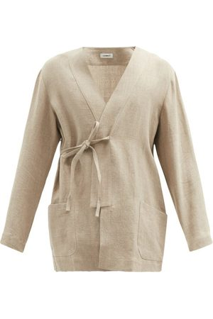 COMMAS V-neck Linen-calico Robe - Mens