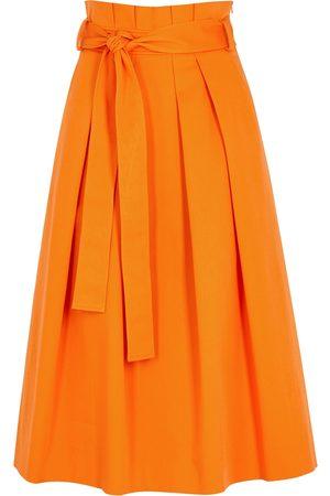 Moschino Women Midi Skirts - Pleated stretch-cotton midi skirt