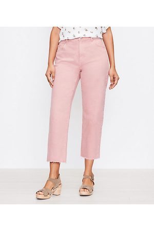 LOFT Women High Waisted - The Curvy High Waist Straight Crop Jean in Blush Shadow