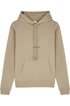 Saint Laurent Taupe logo hooded cotton sweatshirt