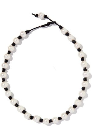 Joie DiGiovanni The Classic Knotted Pearl and Leather Choker