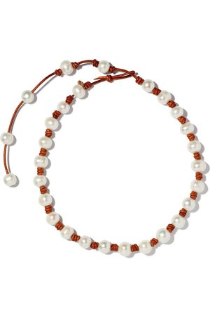 Joie DiGiovanni Women Necklaces - Large Classic Knotted Pearl and Leather Necklace w/ Tail