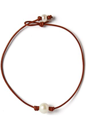 Joie DiGiovanni Women Necklaces - Single Freshwater Pearl and Leather Choker
