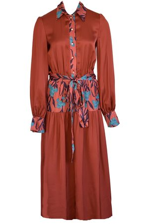 Anna Etter Long Sleeve Terracotta Dress Lynn with Floral Print