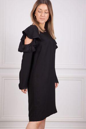 Marc Aurel Frill Cut Out Shoulder Dress