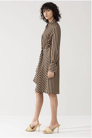 Luisa Cerano Silk Stripe Cross Tie Midi Dress