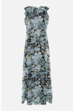 PAROSH Pochic Blue Floral Maxi Dress
