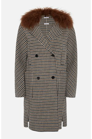 PAROSH Camel Check Double Breasted Coat