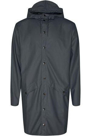 Rains Long Hooded Popper Jacket Charcoal