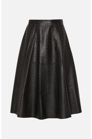Lou Andrea Black Leather Stud Skirt