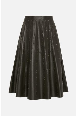 Lou Andrea Khaki Leather Stud Skirt