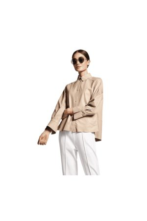 Riani Leather Collared Overshirt Colour: Trench