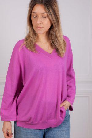 Riani V Neck Sweater in Purple Orchid