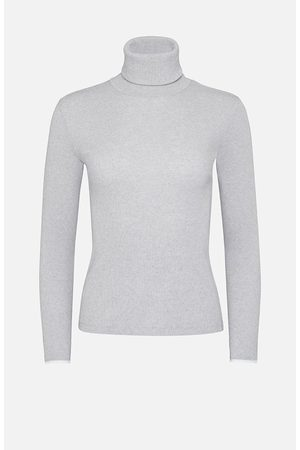 Majestic Cotton Roll Neck Sweater Grey