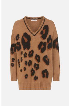 VIVETTA Women Sweaters - Leopard Pattern V Neck Jumper