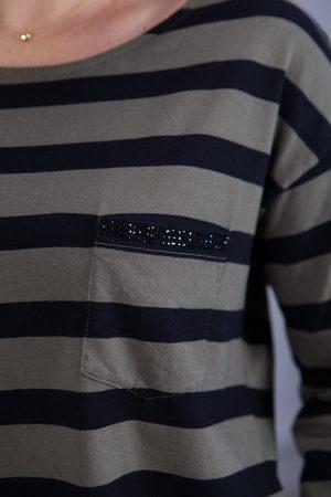 Marc Aurel Long Sleeve Stripe Tee in Khaki