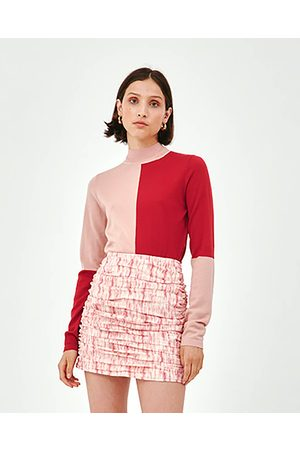 C/meo Collective Musk Pink & Red Adjoin Knit Top