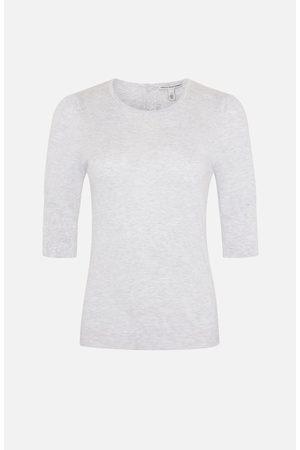 AUTUMN CASHMERE Women Tops - Grey Round Neck Puff Sleeve Top
