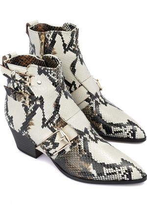 BALDININI Snake printed leather ankle boots
