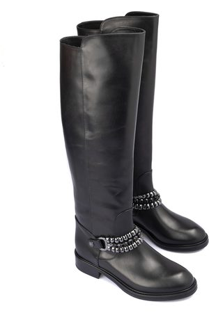 LORIBLU Metal chain leather boots