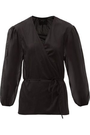 Loup Charmant Women Wrap tops - Eloise Balloon-sleeve Organic-cotton Wrap Blouse - Womens
