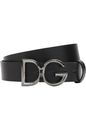 Dolce & Gabbana Men Belts - 35mm Leather Belt W/ D&g Buckle