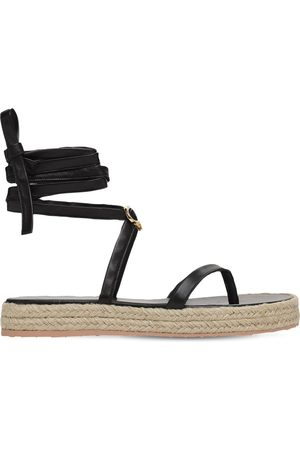 Gianvito Rossi Women Espadrilles - 20mm Leather Espadrille Thong Sandals