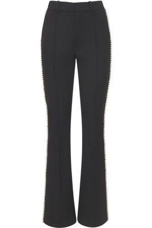 AREA Women Skinny Pants - Flared Crepe Slim Pants W/ Crystals