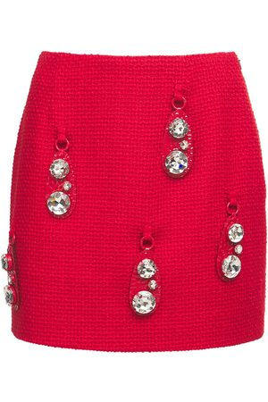 AREA Women Mini Skirts - Hammered Pendant Tweed Mini Skirt