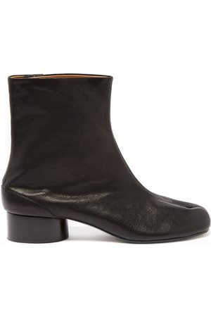 Maison Margiela Women Ankle Boots - Tabi Split-toe Leather Ankle Boots - Womens