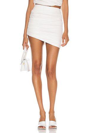 The Sei Gathered Asymmetric Mini Skirt in Ivory