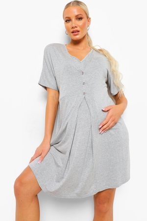 Boohoo Women Sweats - Womens Maternity V Neck Button Front Nightie - - 4