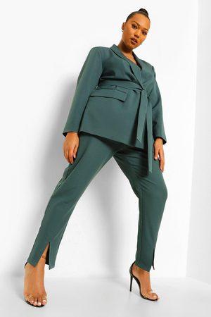Boohoo Women Formal Pants - Womens Plus Occasion Split Hem Tailored Trouser - - 12