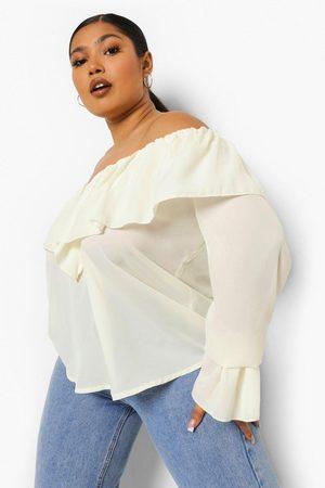 Boohoo Womens Plus Ruffle Off Shoulder Flare Cuff Blouse - - 12