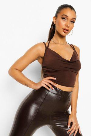 Boohoo Women Camisoles - Womens Slinky Cowl Neck Crop Top - - 2