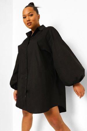 Boohoo Women Casual Dresses - Womens Plus Oversized Sleeve Shirt Dress - - 12