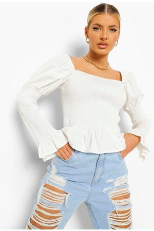 Boohoo Womens Woven Shirred Square Neck Top - - 2