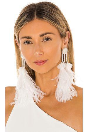 RANJANA KHAN Embellished Feather Earrings in .