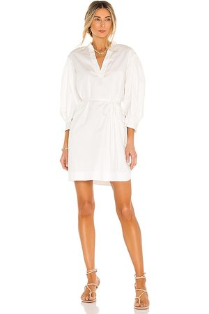 REBECCA TAYLOR 3/4 Sleeve Twill Belted Dress in White.