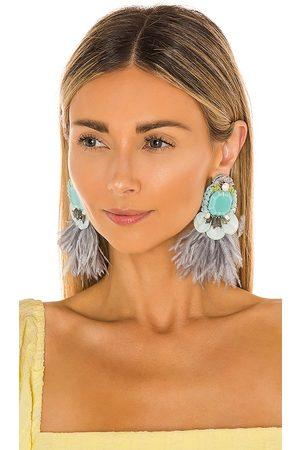 RANJANA KHAN Feather Earrings in Baby .