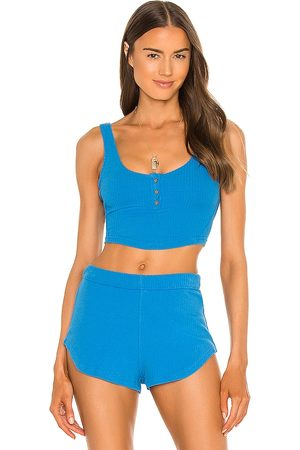Free People X FP Movement Luxe Rib Snap Tank in Blue.