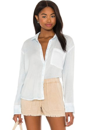 Bella Dahl Boxy Button Down in Blue.
